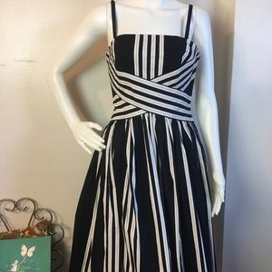 Vintage Black and White Striped Cotton Dress